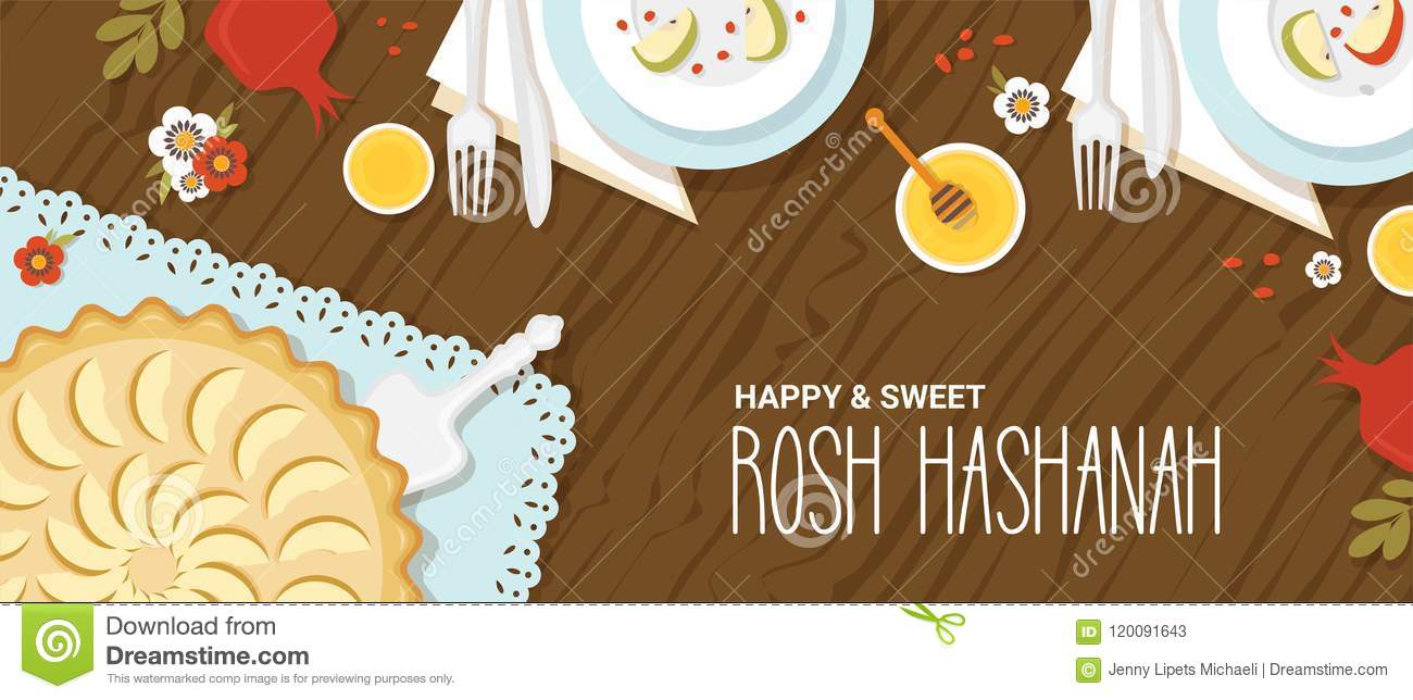 traditional table for rosh hashanah jewish new year dinner with traditional symbols vector