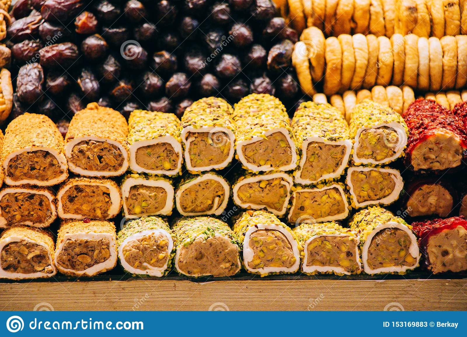 Traditional Tasty Turkish delight candy lokun