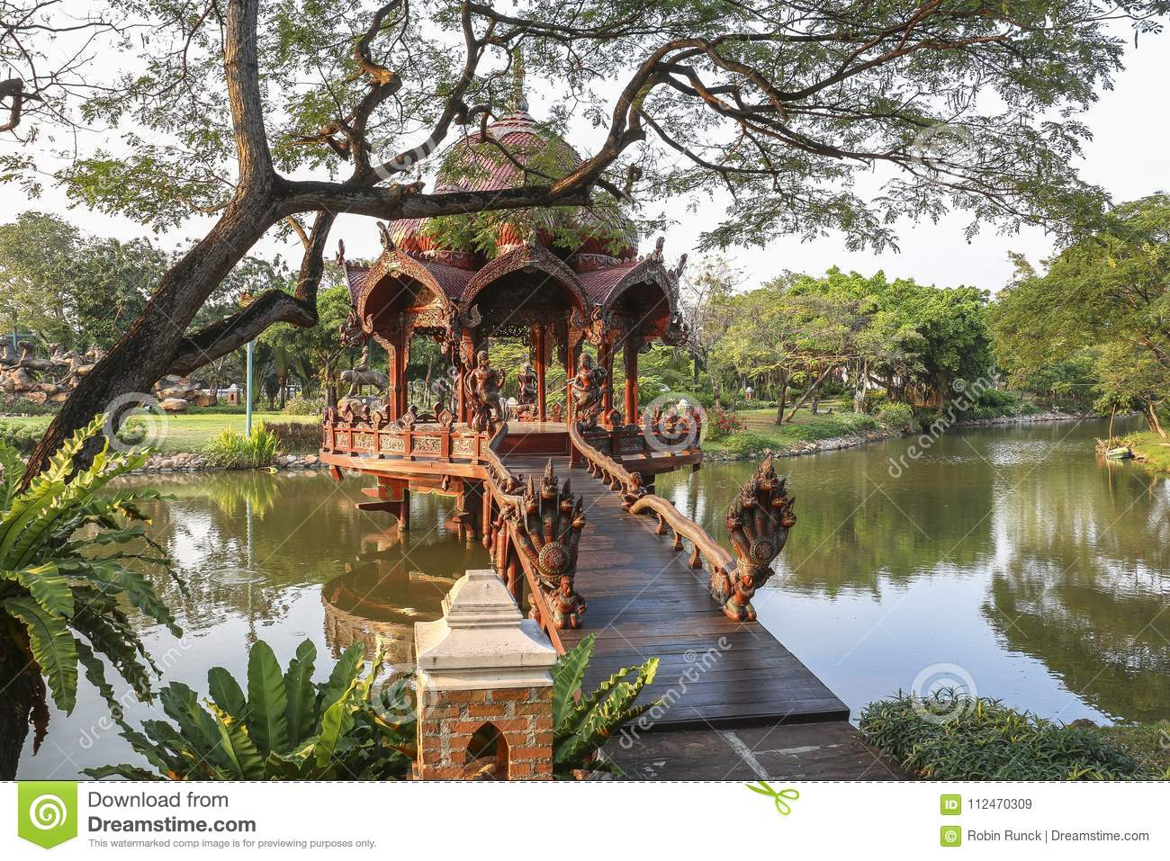 Traditional Temple On Water In Ancient City Near Bangkok Stock Image ...