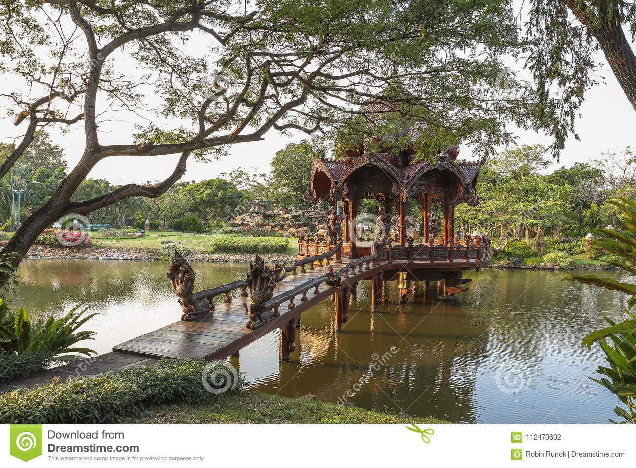 Traditional Temple On Water In Ancient City Near Bangkok Stock Photo ...