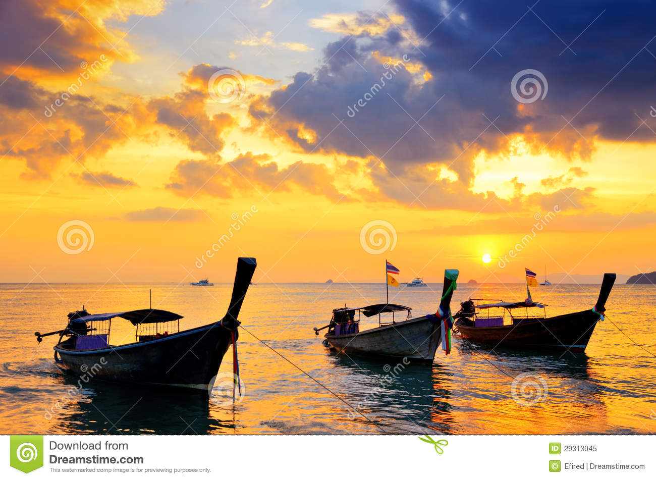 Traditional Thai Boats At Sunset Beach Royalty Free Stock Photo - Image: 29313045