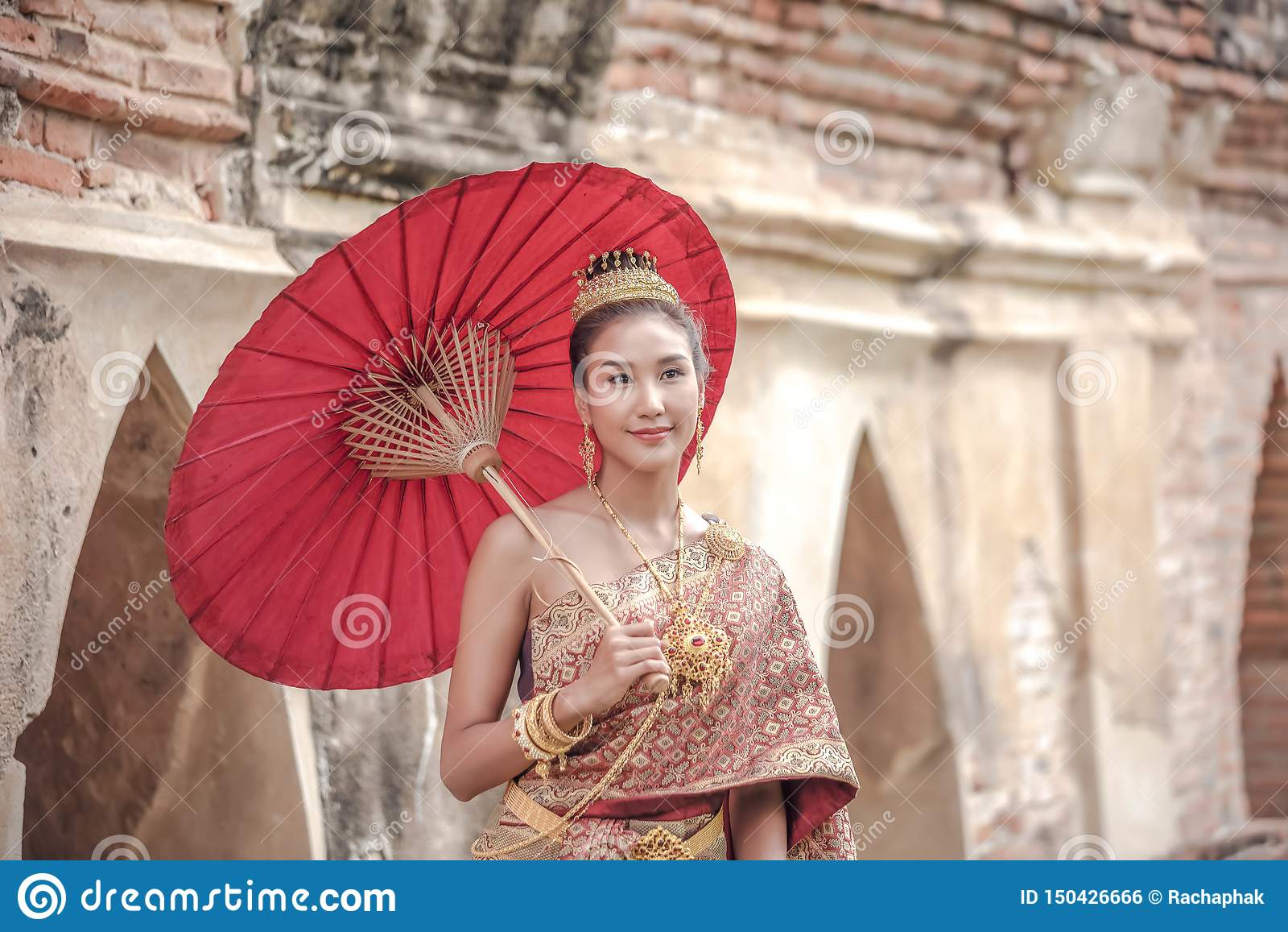 Beautiful Thai Girl In Thai Costume - Wearing Bride Dress