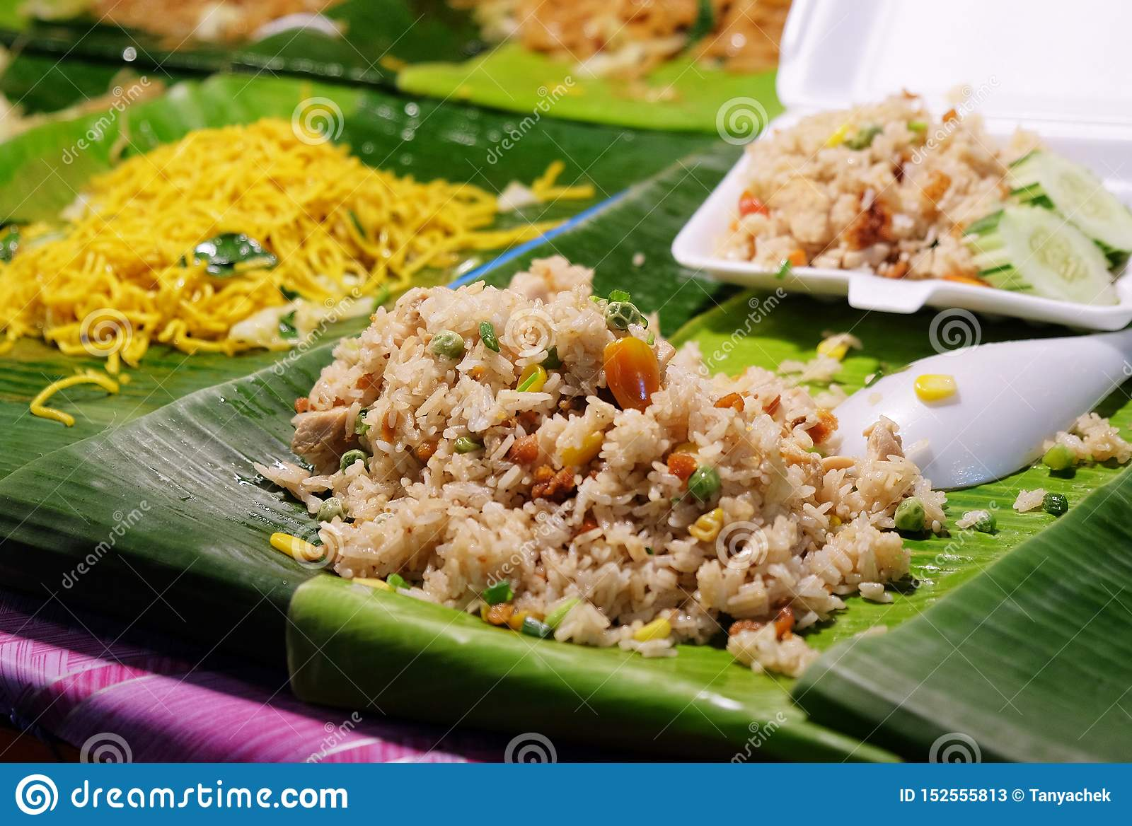 Traditional thai food fried rice in the street of Thailand