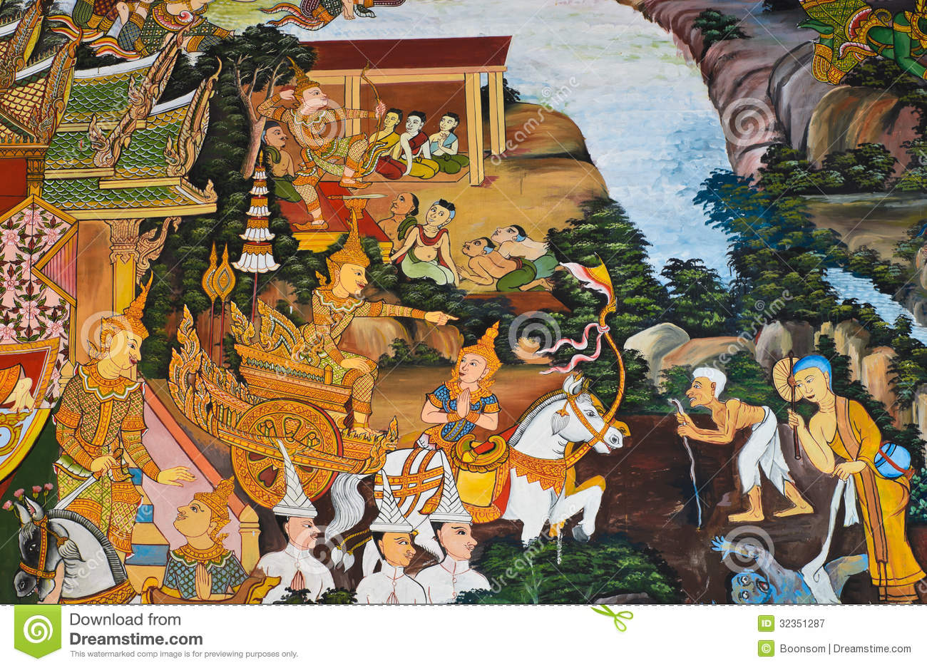 Traditional thai mural painting stock image image 32351287 for Buddha mural art