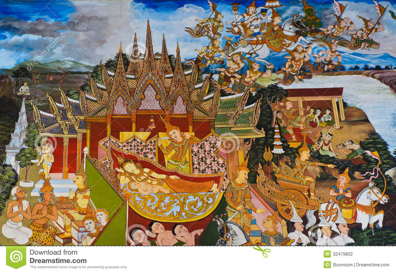 Traditional thai mural painting stock photography image for Buddha mural art