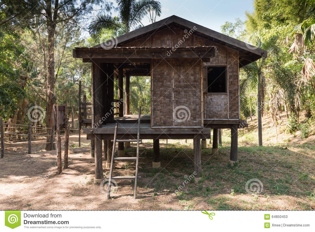 Superior Traditional Thai Rustic Wooden House On Garden,wooden Hut Stock Photos