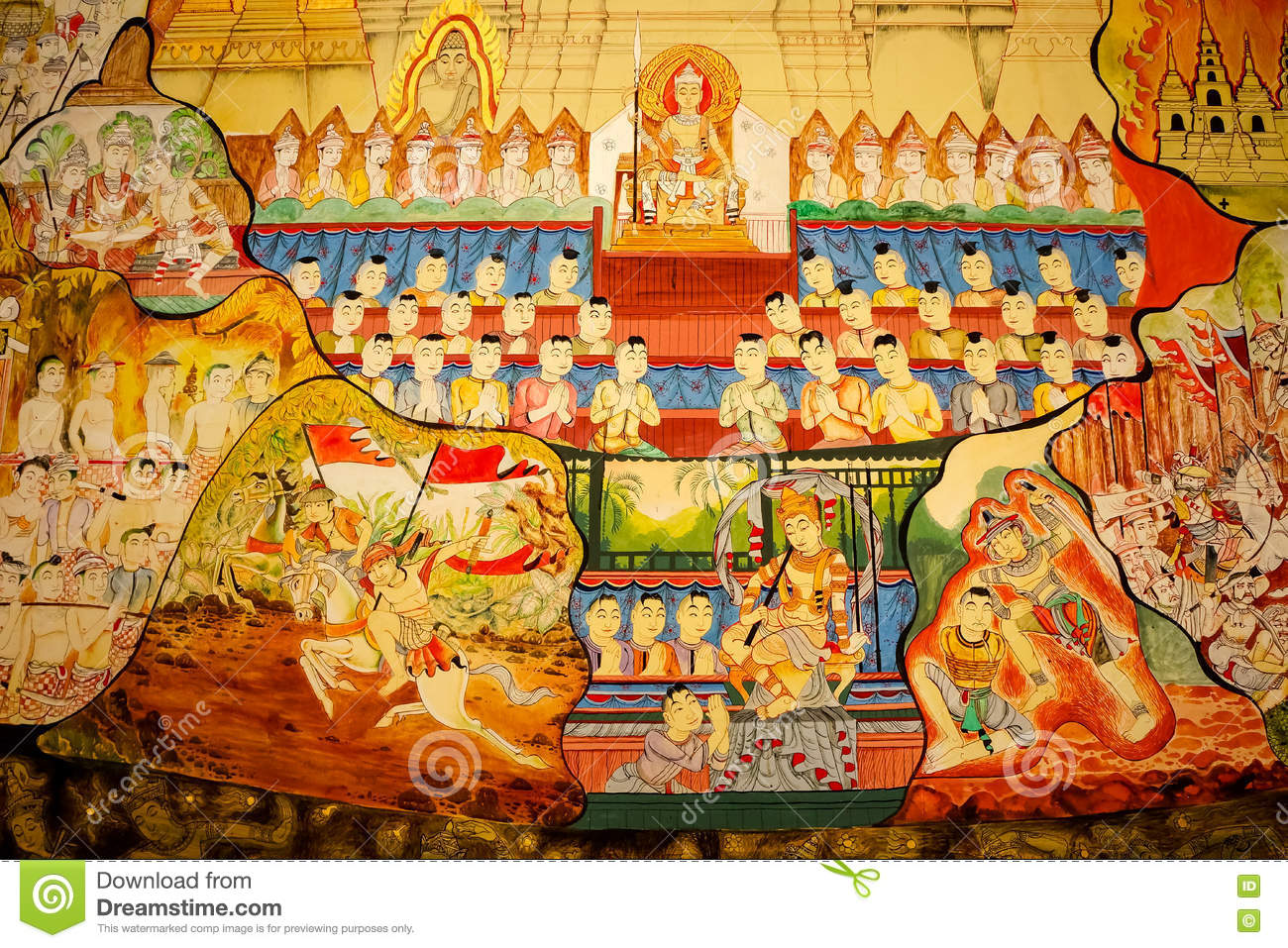 Traditional Thai Style Art Painting On Temple\'s Wall (Ramayana S ...