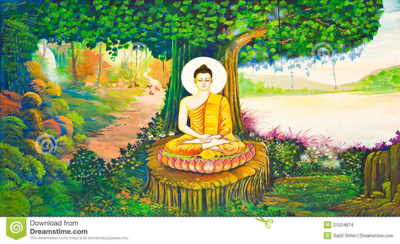Traditional Thai Style Painting Art On Temple Wall Stock Photo ...