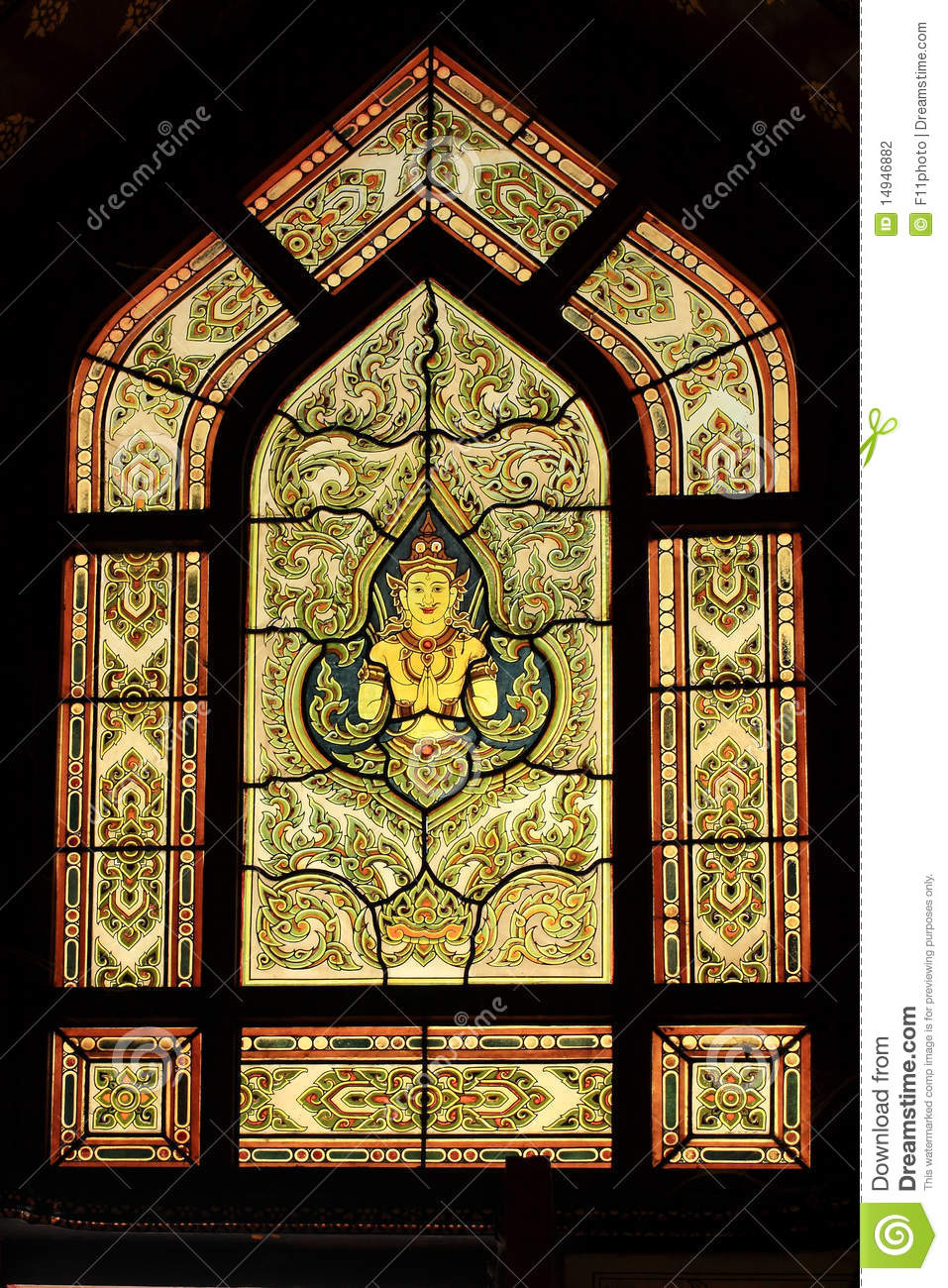 Traditional Thai Style Stained Glass Window Stock