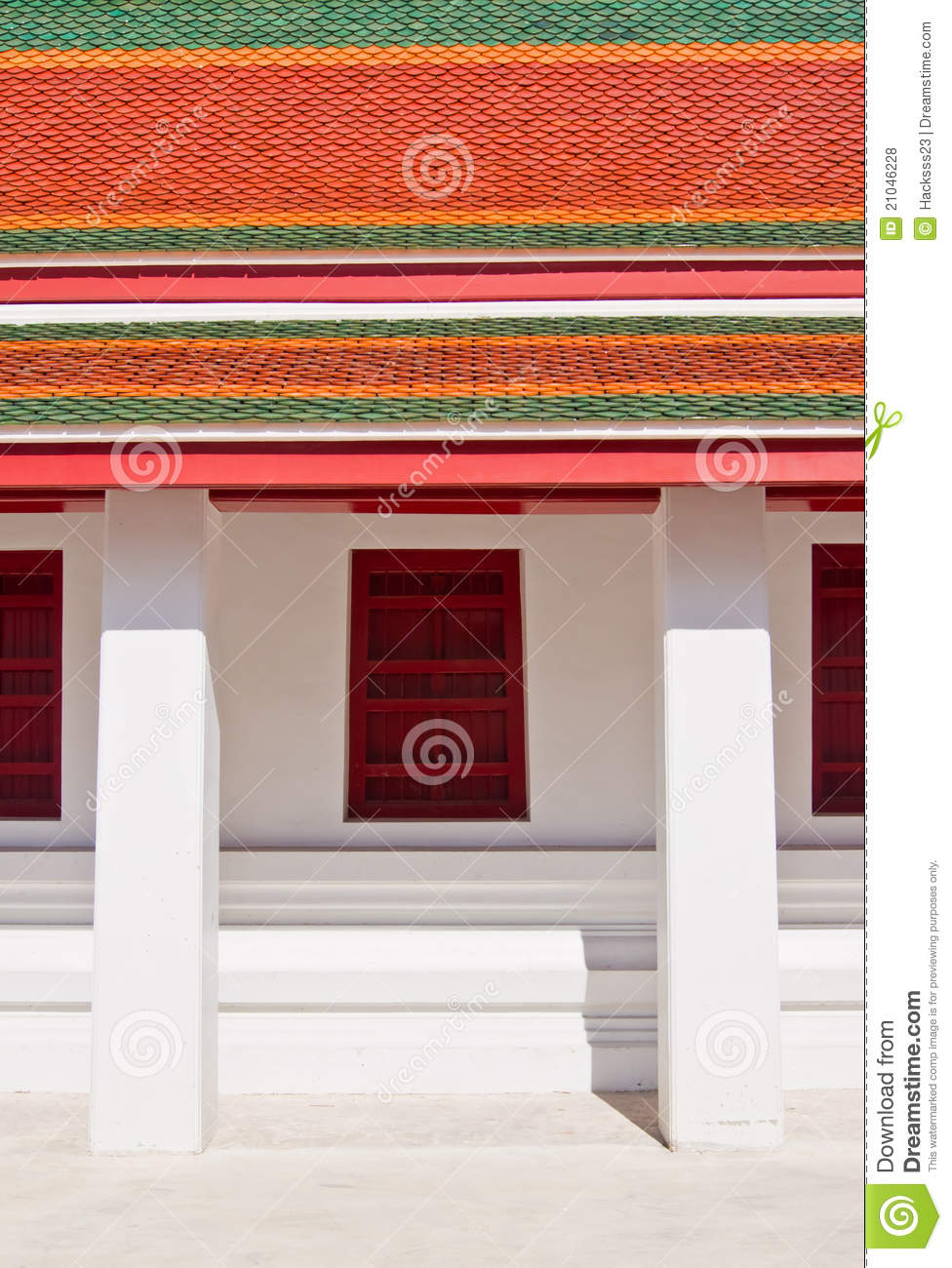 traditional thai style window and roof temple stock photo