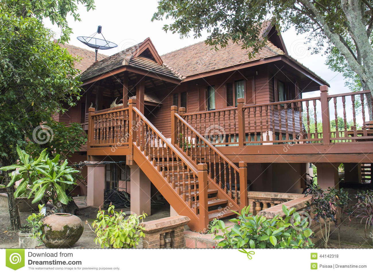 Traditional Thailand Wooden House Stock Photo Image