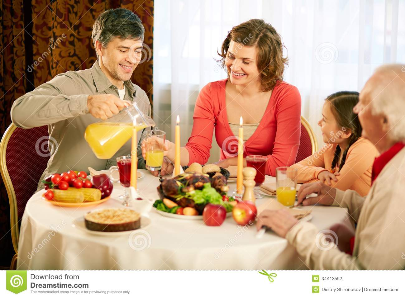 Traditional Thanksgiving Dinner Stock Photography