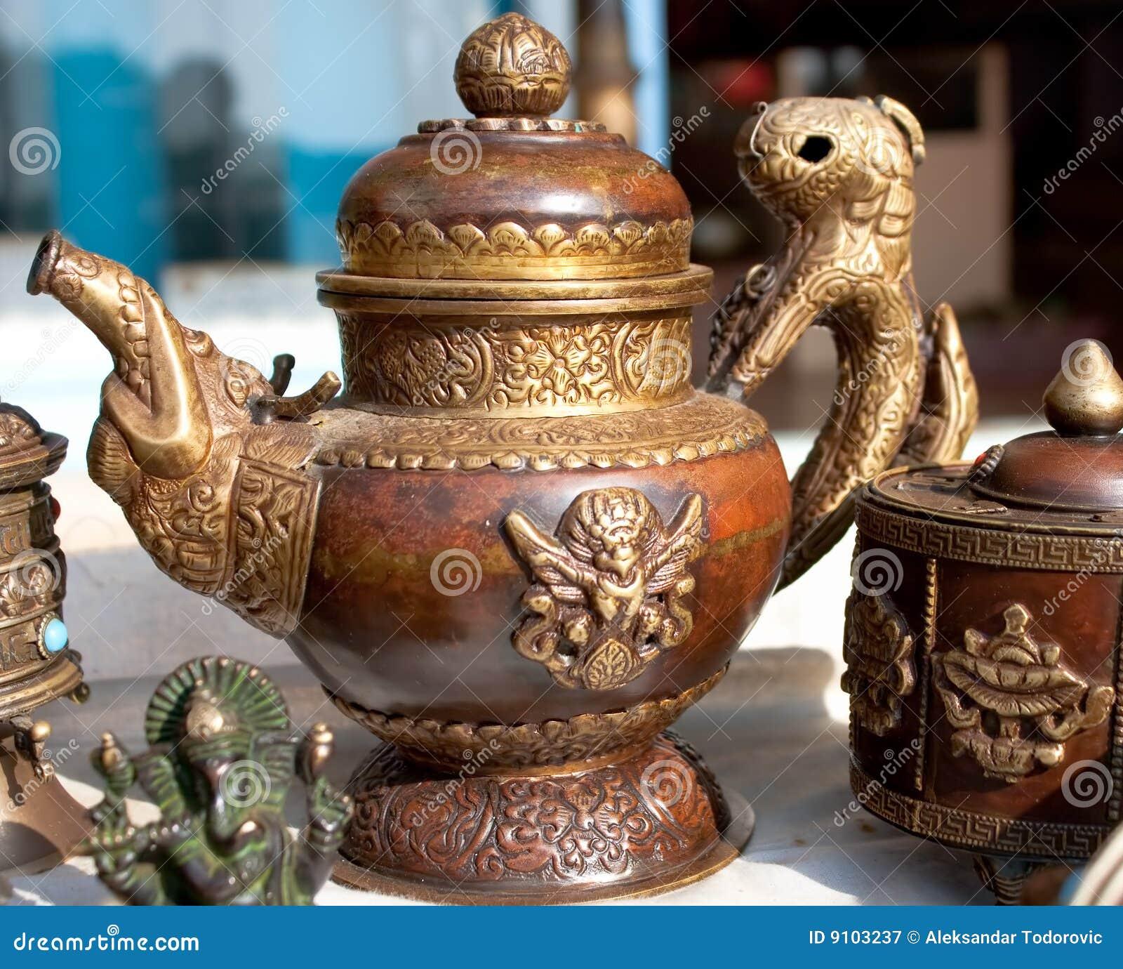 Traditional Tibetan Tea Pot And Sugar Box Royalty Free