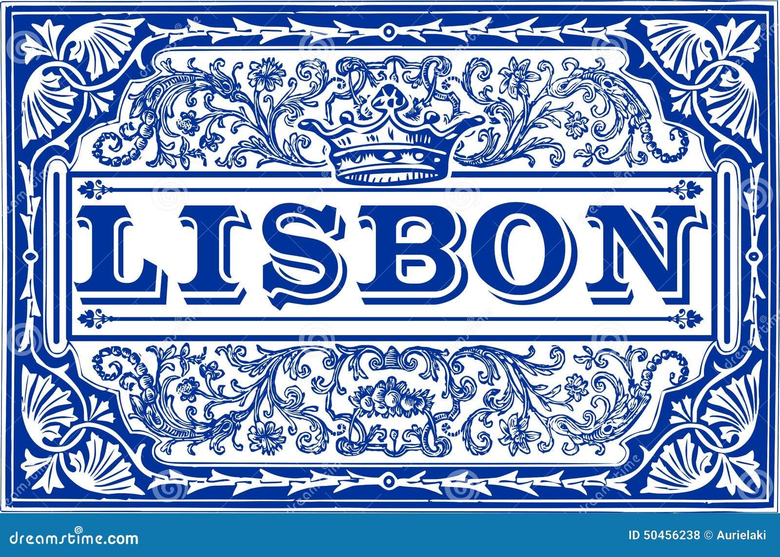 Traditional Tiles Azulejos Lisbon Portugal Stock Vector