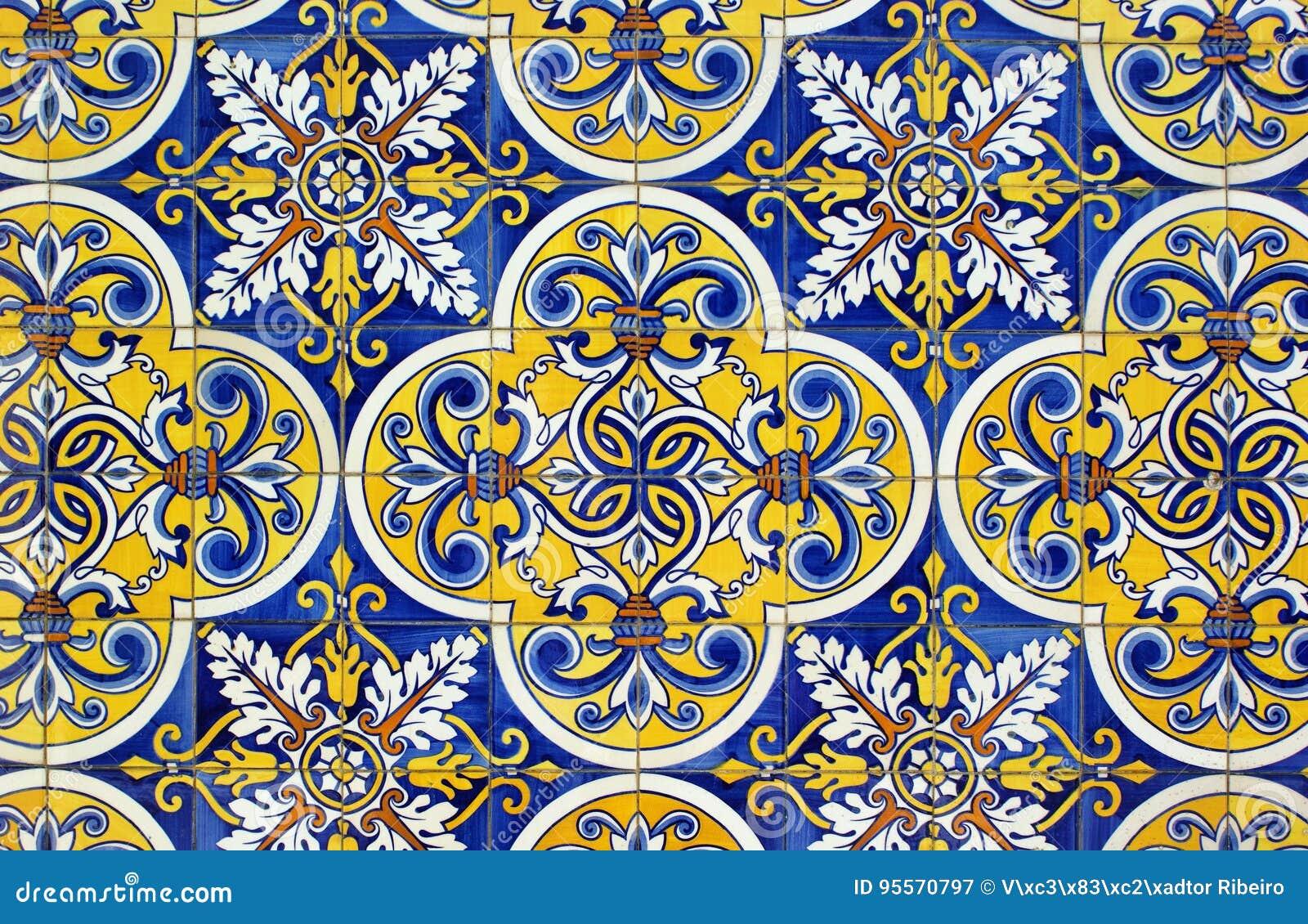 Traditional tiles in Santa Eulalia church