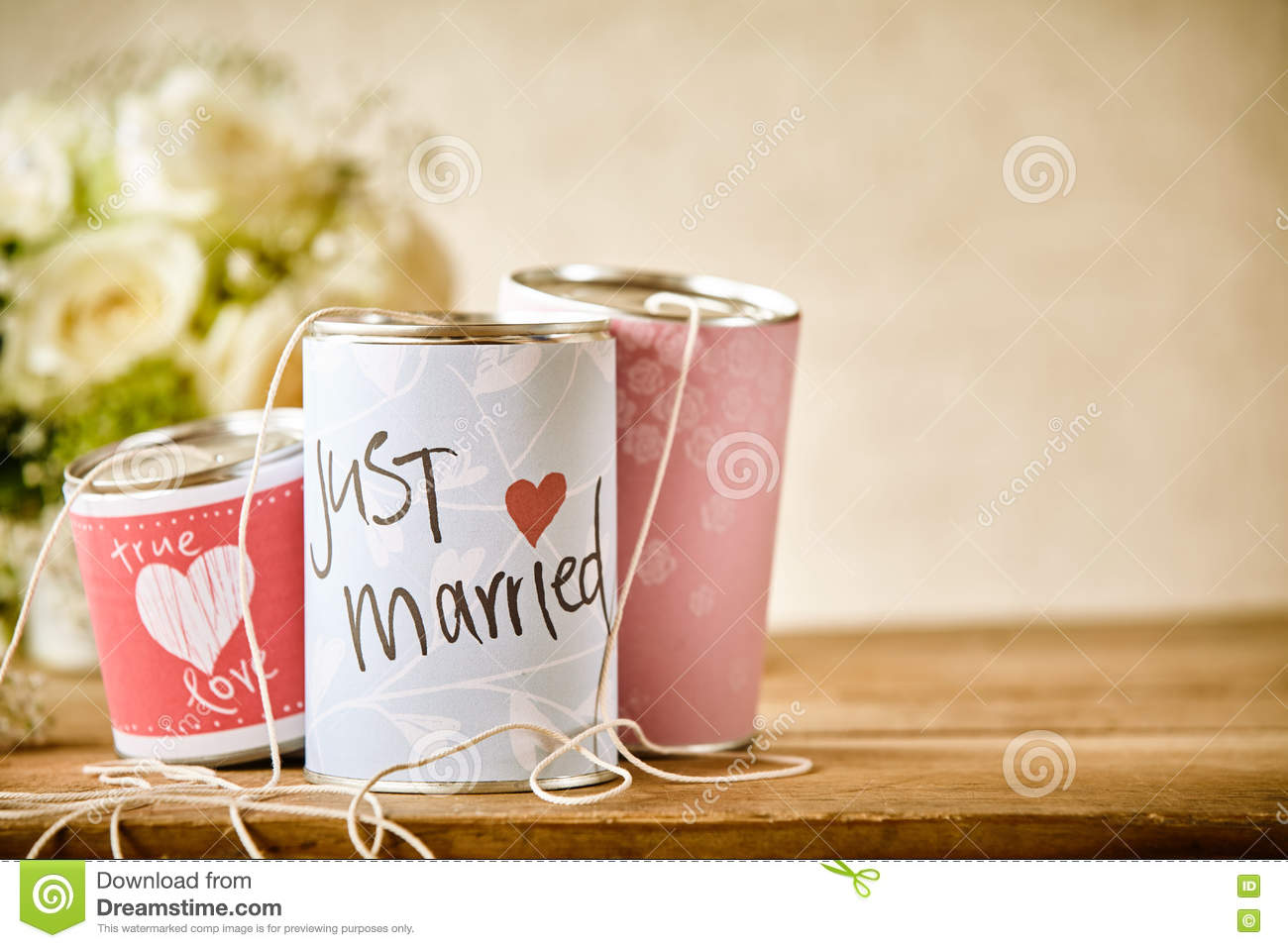 Traditional Tin Can Wedding Decorations On Table Stock Photo Image