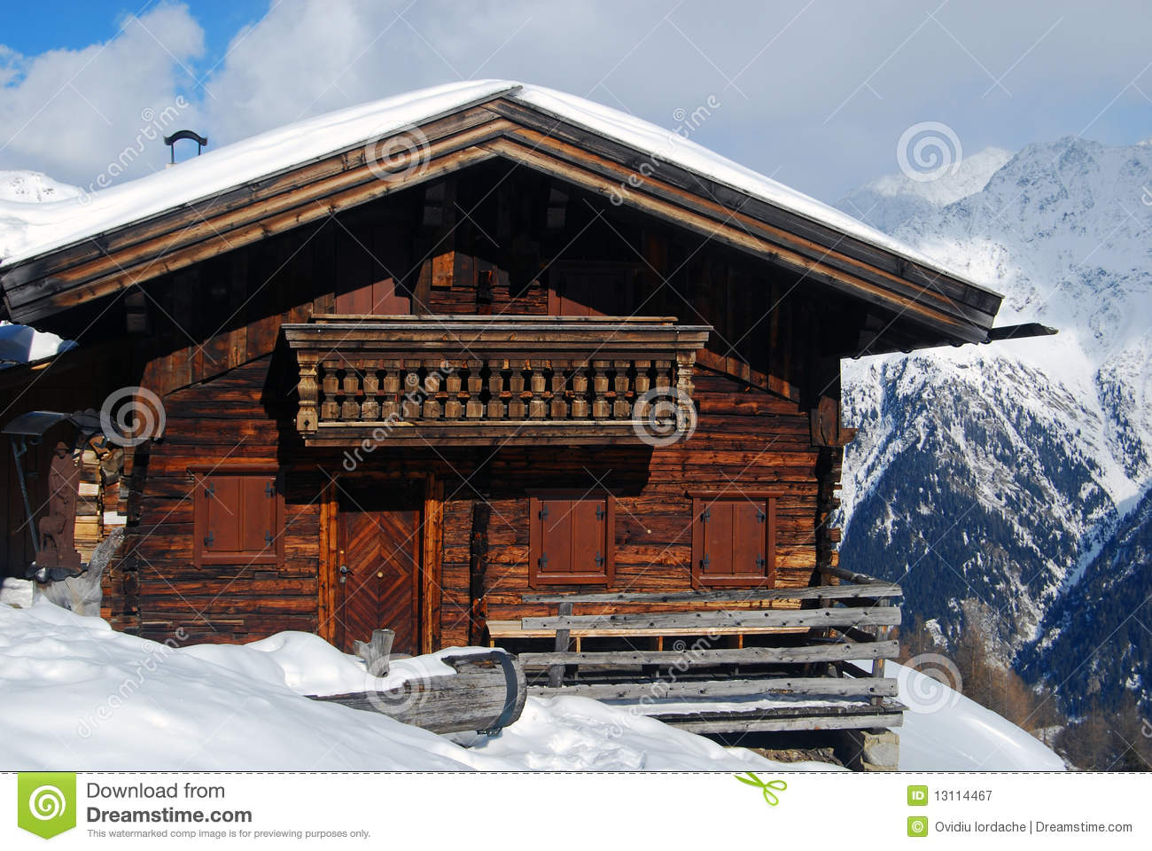 traditional tirol wood house in mountains royalty free