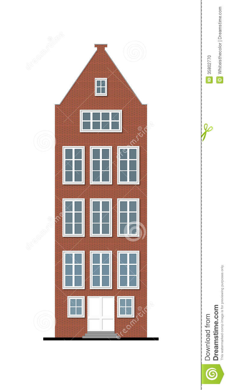 Traditional Townhouse Red Brick Facade Stock Illustration