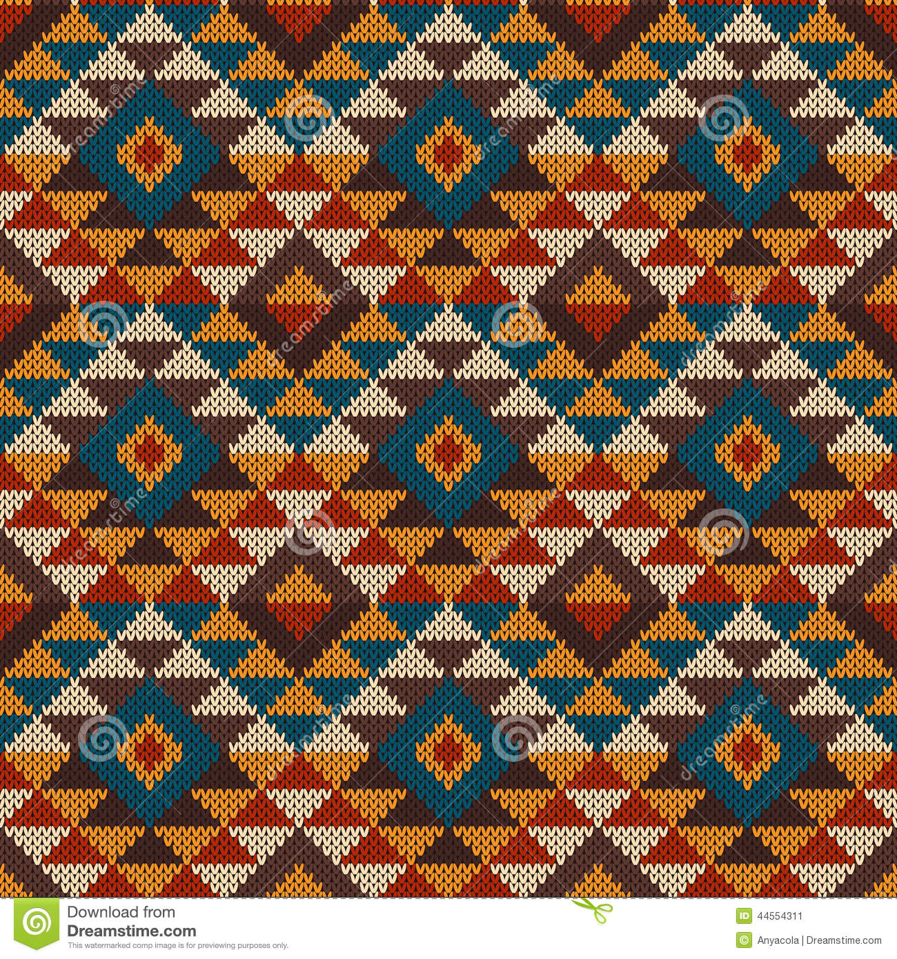 Traditional Tribal Aztec Seamless Pattern On The Wool Knitted Te ...