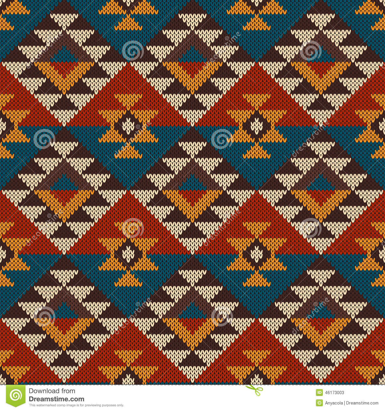 Traditional Tribal Aztec Seamless Pattern On The Wool