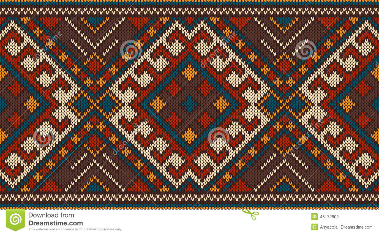 Aztec Knitting Pattern : Traditional Tribal Aztec Seamless Pattern On The Wool Knitted Texture Stock V...