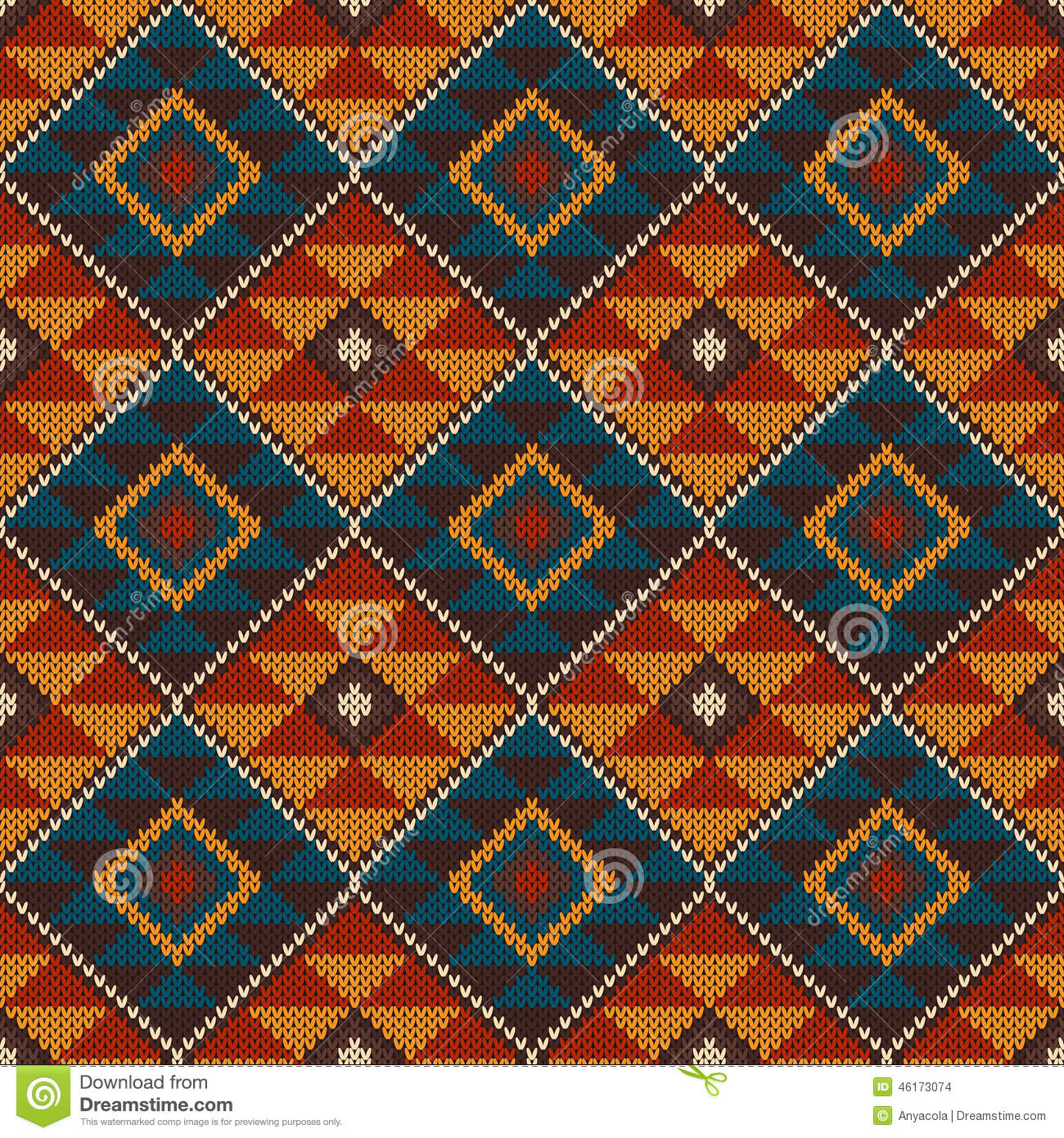 Traditional Tribal Aztec Seamless Pattern On The Wool Knitted Texture Stock V...