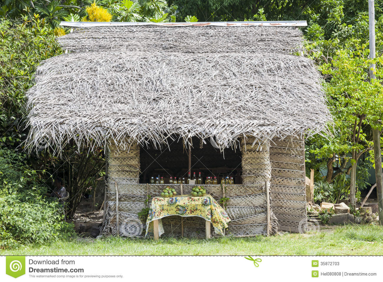 Traditional Tropic House Made From Palm Leaves Stock