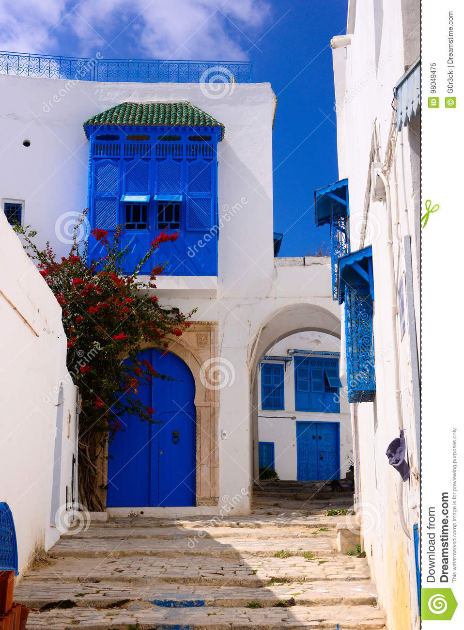 Arabic Alley, Traditional Tunisian Buildings, Blue Doors and Shutters - Sidi Bou Said