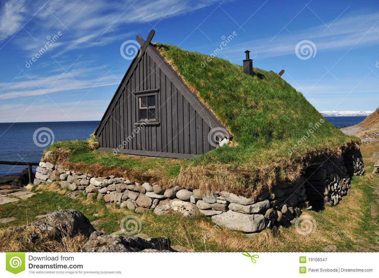 Traditional Turf Covered House Iceland Stock Image