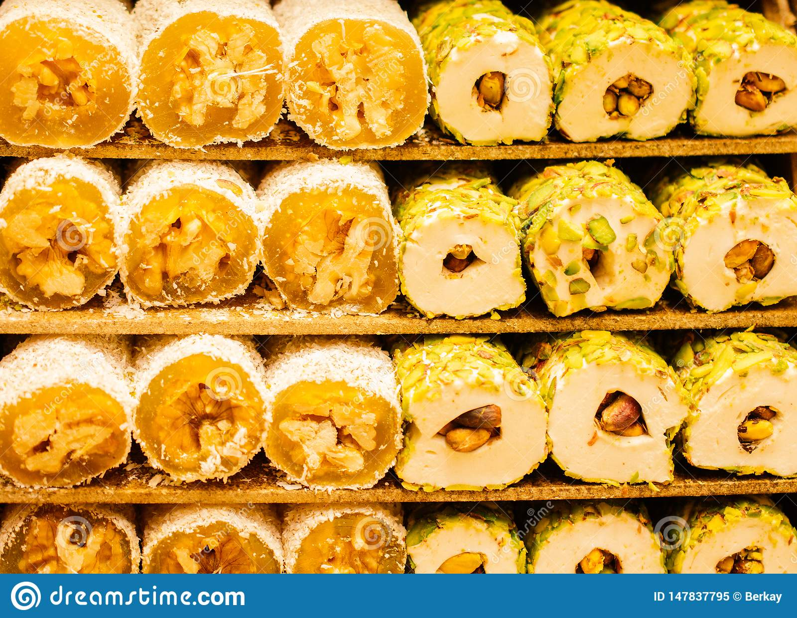 Traditional turkish delight lokum candy