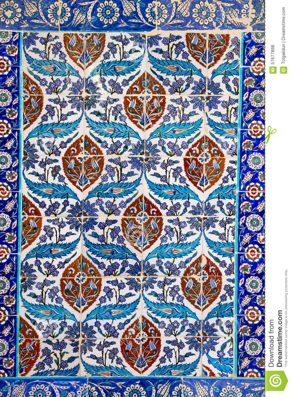 Traditional Turkish Floral Ceramic Ornament On Tiles Stock ...