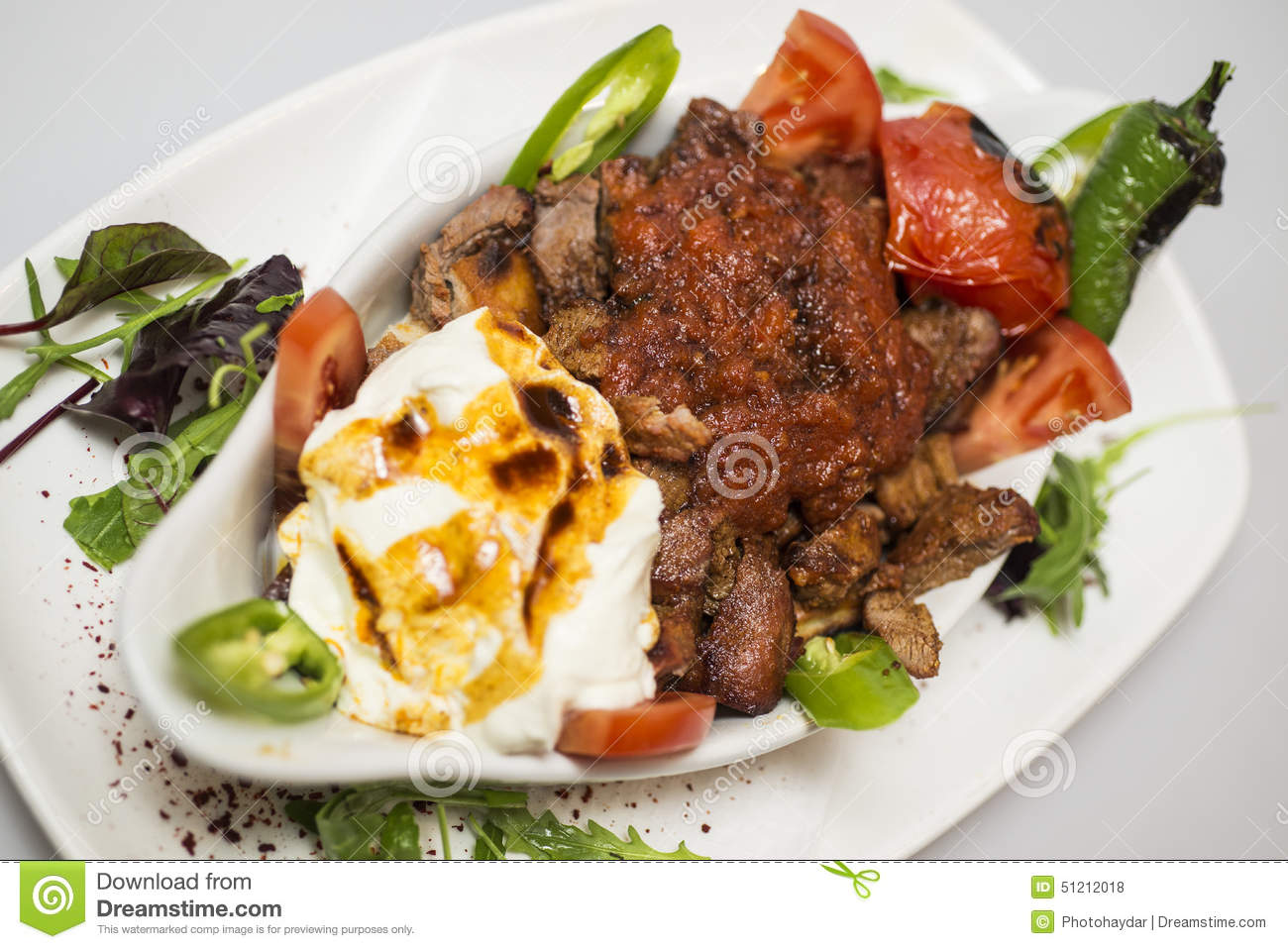 Traditional turkish food iskender kebap stock photo for Authentic turkish cuisine
