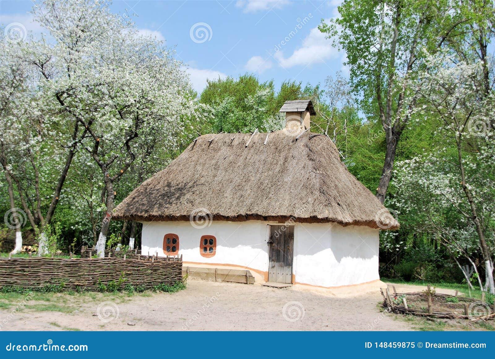 Traditional Ukrainian house hut near Kiev