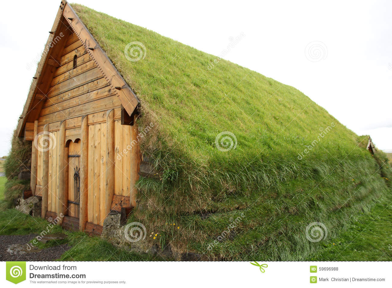 traditional Viking house made of wood, earth, and covered with grass ...