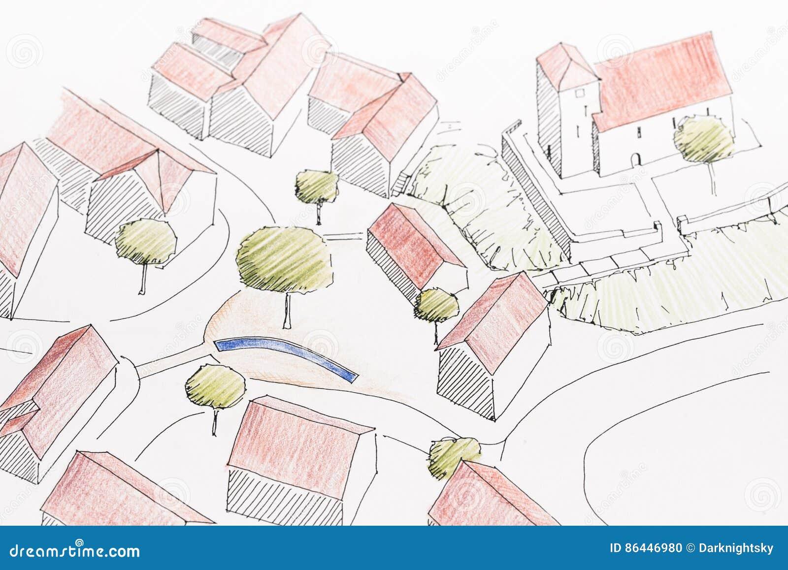 Traditional Village stock illustration. Illustration of detail ...