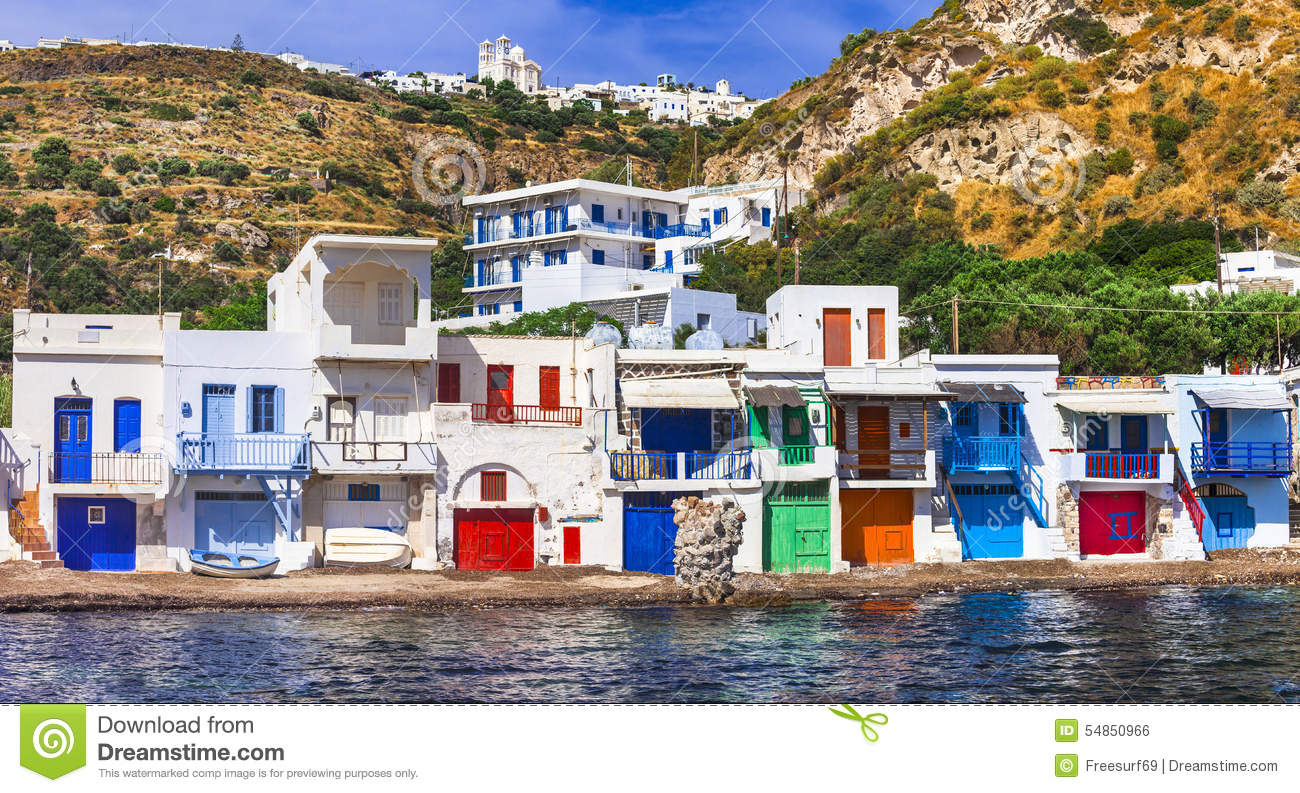 Traditional Village Klima. Milos Island Stock Photo ...