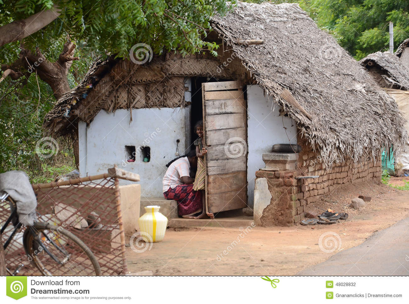 Traditional Village Poor Houses Editorial Photography