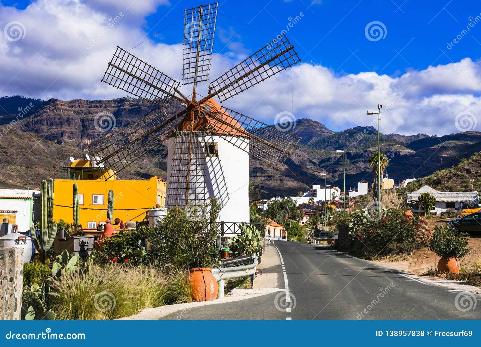 Traditional village and windmills of Canary island. Mogan, Gran Canaria