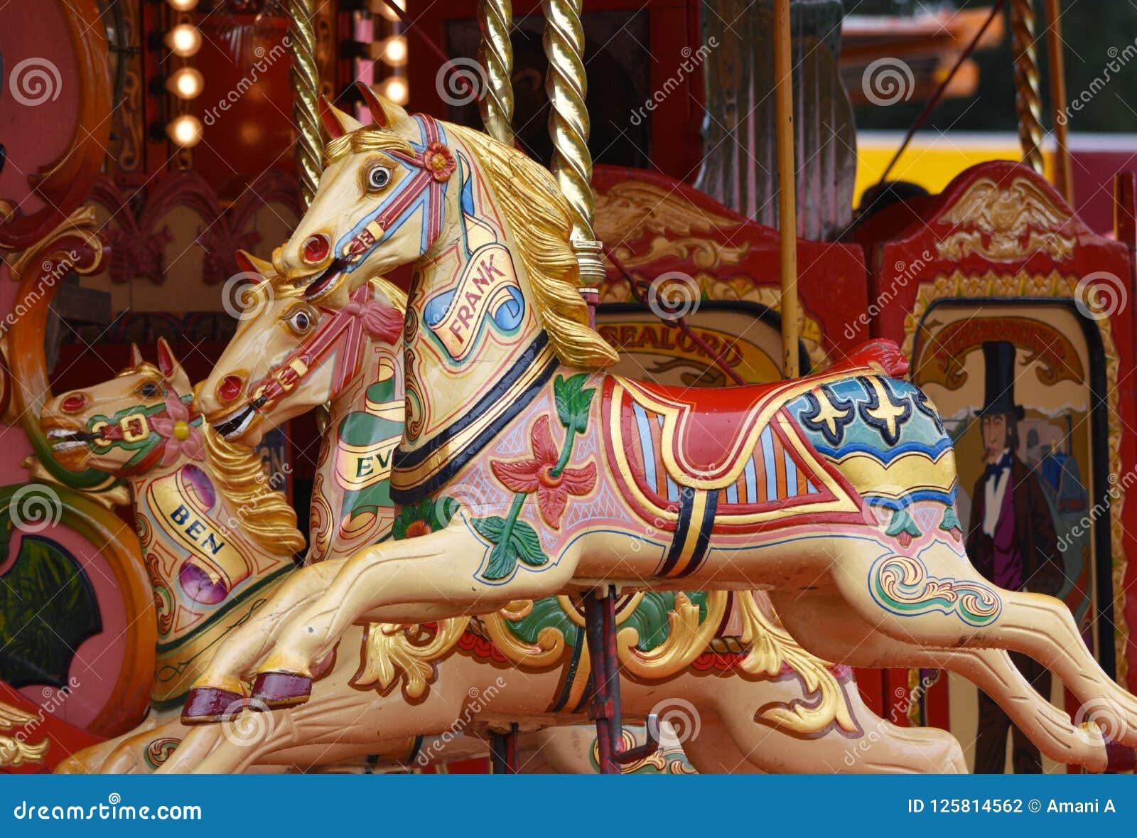 Carousel Horses Merry Go Round Stock Photo Image Of Authentic