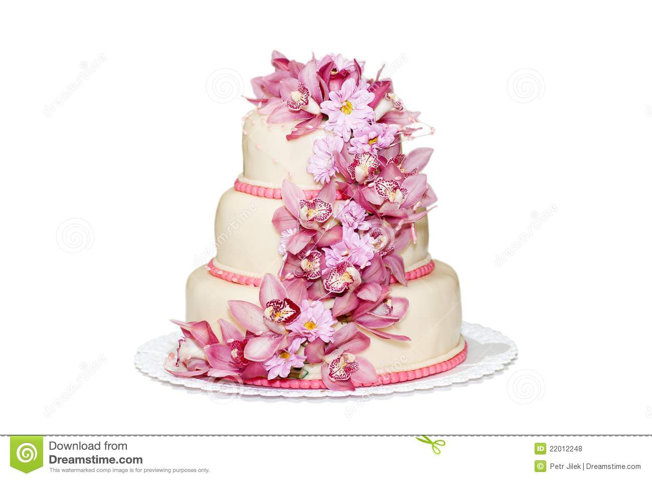 Traditional Wedding Cake With Orchid Flowers Royalty Free