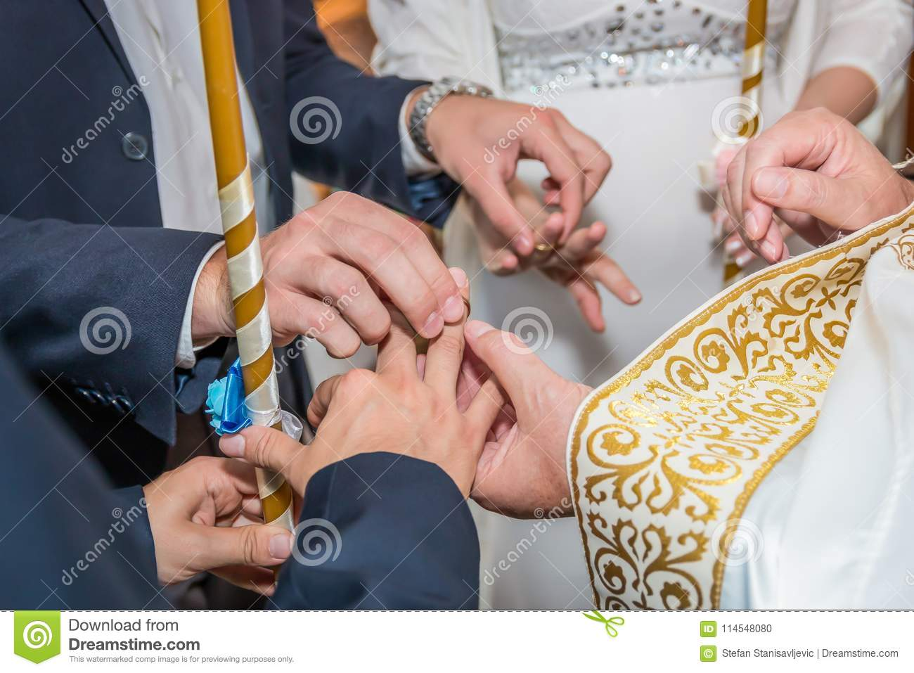 Wedding Rings Exchange In Orthodox Church Stock Photo Image Of