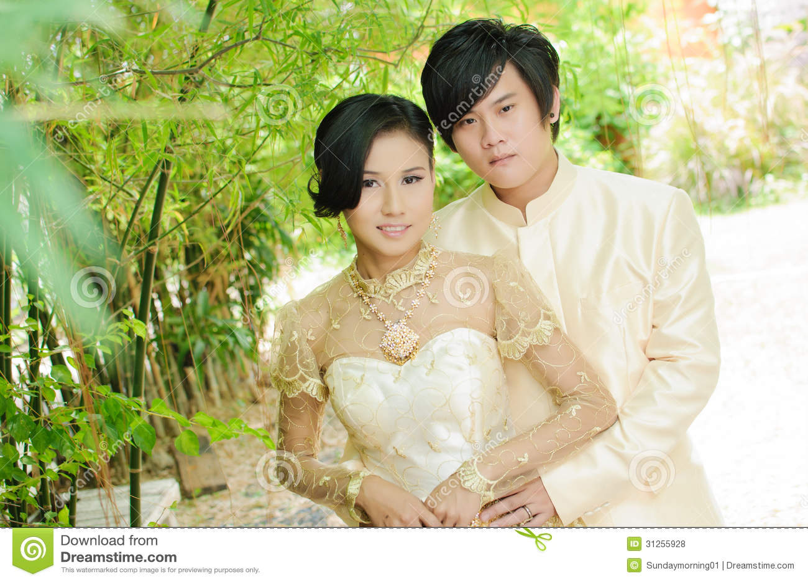 Traditional wedding dress thailand royalty free stock photos