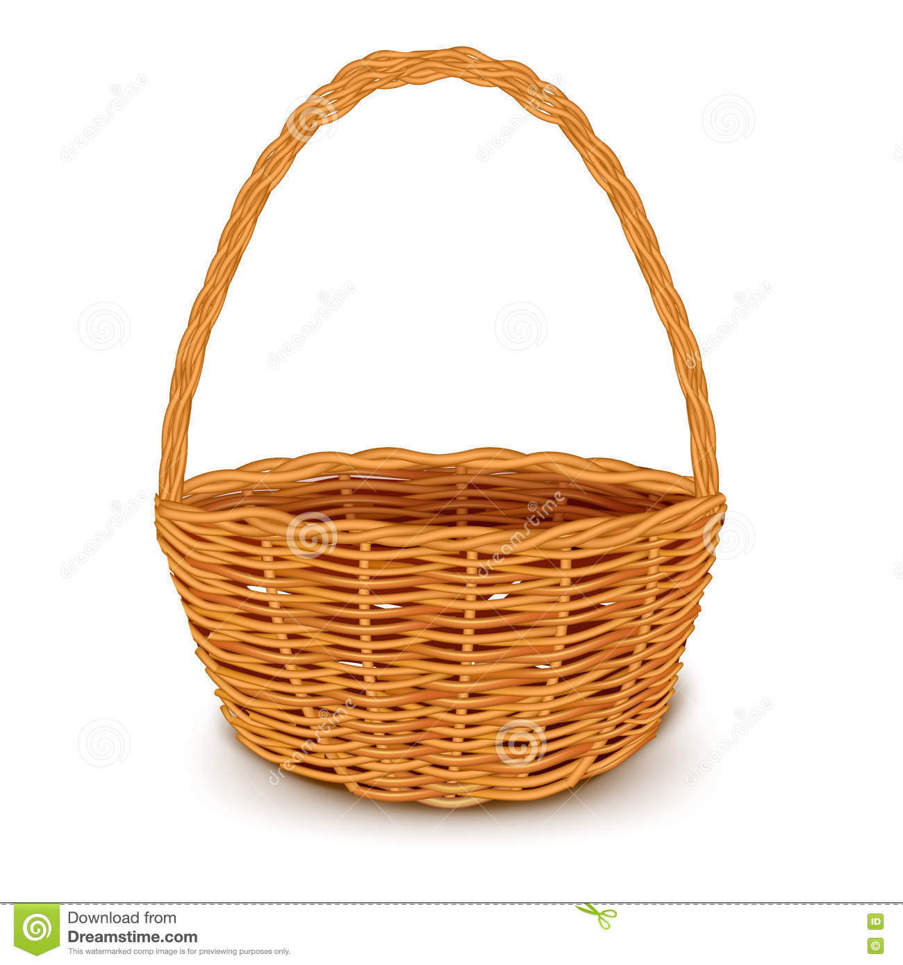 Traditional Small Wicker Basket With Liner&handle : Traditional wicker basket stock vector image