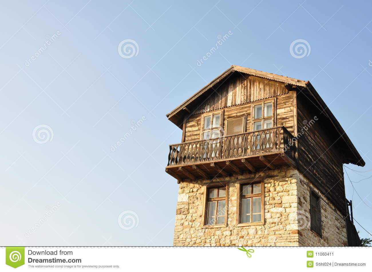 Traditional wood and stone house stock image image 11060411 for Stone and wood house