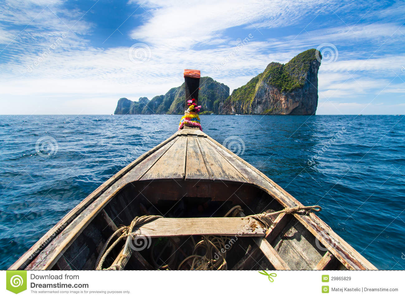 Wooden Boat Near Phi Phi Island, Thailand. Royalty Free Stock Images - Image: 29865829