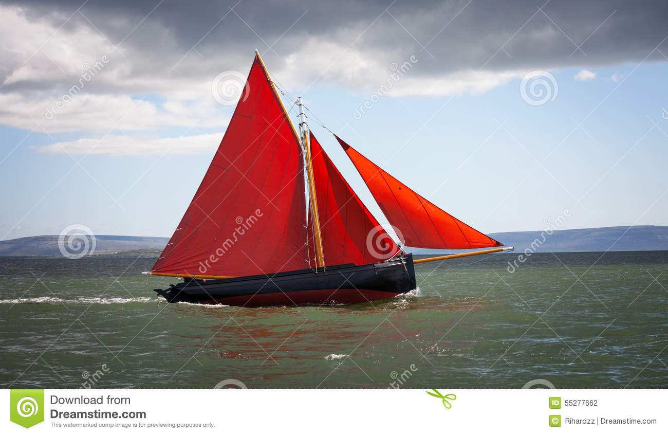 Traditional Wooden Boat With Red Sail. Stock Photo - Image ...
