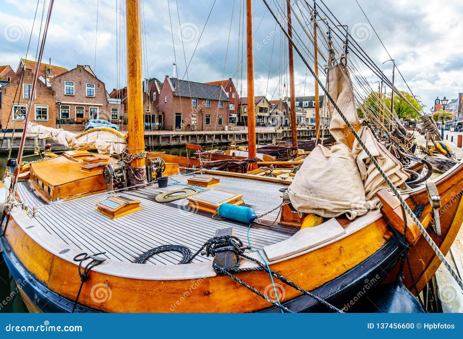 Fishing Boats moored in the harbor of Bunschoten-Spakenburg in