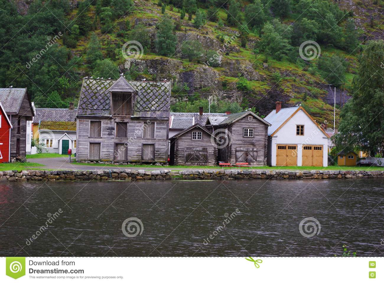 Traditional wooden houses in lyrdal norway royalty free for Norway wooden houses