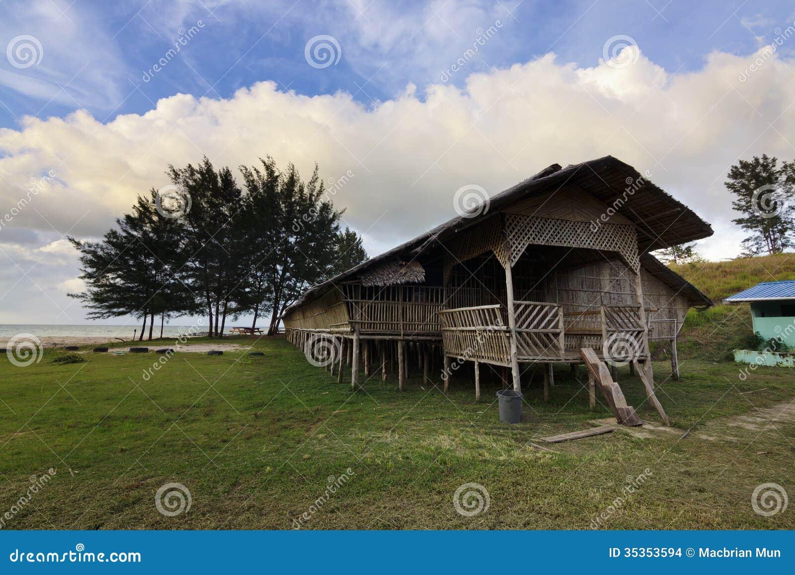Traditional Wooden Longhouse At Sabah Malaysia Stock