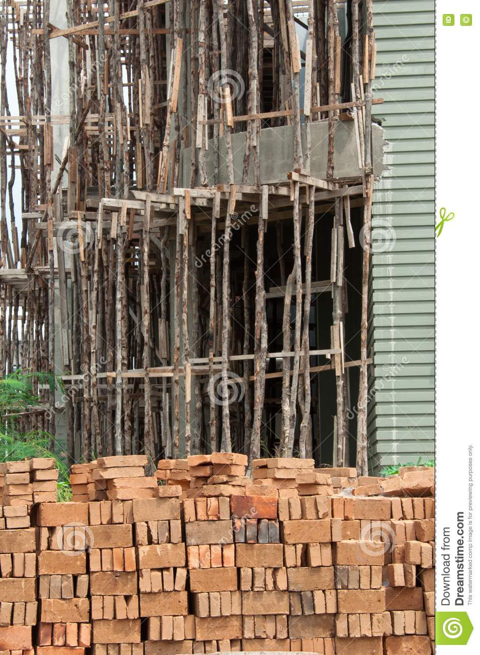 Traditional Wooden Scaffolding Royalty Free Stock Images